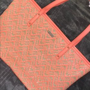 Kate spade peach patent leather and woven tote